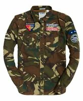 NWT Superdry Men's MILITARY Army Tropics Long Sleeve Shirt Camo Patches S-XL