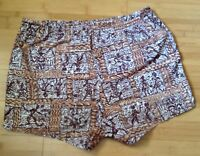Vtg 50s/ 60s Jantzen Swim Trunks Swimsuit Shorts Brown Hawaiian Tribal Mens 34