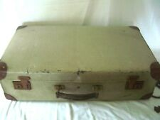 Vintage Suitcase With Tan Trim , Great Decorators Piece Or Wedding Postbox
