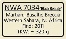 "Meteorite label NWA 7034 ""Black Beauty"""