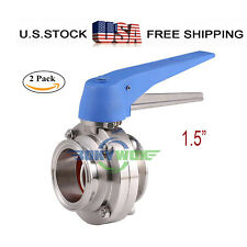 """1.5"""" Sanitary Stainless 304 Tri-Clamp Duck-Billed Handle Butterfly Valve 2Pack"""