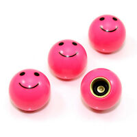 4 Pink Smiley Face Ball Tire/Wheel Air Stem Valve Caps for Car-Truck-Hot Rod