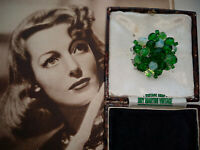 VINTAGE ART DECO SIGNED GERMANY OPALINE GLASS BEAD CLUSTER BROOCH PIN COLLECTOR