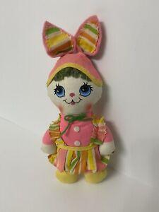"Vintage Mini Easter Rag Doll Bunny By Knickerbocker 8"""