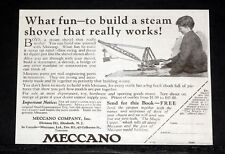 1924 OLD MAGAZINE PRINT AD, MECCANO, TO BUILD A STEAM SHOVEL THAT REALLY WORKS!