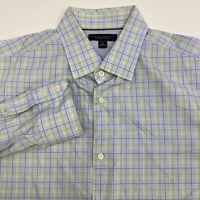Banana Republic Button Up Shirt Men's Size 17.5 Long Sleeve Blue Plaid Slim Fit