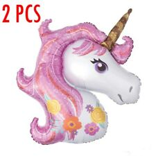2 Unicorn Rainbow Pink Foil Helium Balloon Children Birthday Party Decoration La