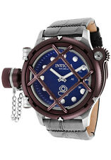 New Men's Invicta 16237 Russian Diver Swiss Mechanical Blue Dial Leather Watch