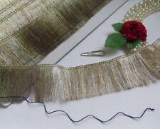 """1-5/8"""" Light Silver Grey / Pale Gold Yarn Fancy Fringe Trims-T597"""