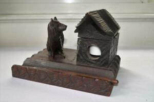 VINTAGE GERMAN BLACK FOREST CARVED WOOD INKWELL DOG GLASS EYES DOG HOUSE