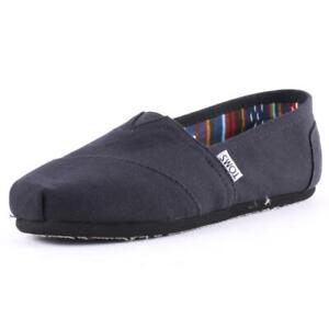 Toms Classic Mens Black Black Canvas Slip On Shoes