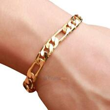 Fashion Women Men Luxury Curb Chain Link Gold Plated Bracelet Wrap Hand Chain