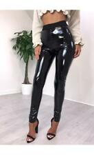Womens Black PU High Waisted Vinyl Skinny Shiny Wet Look Leggings Trousers Pant