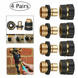4 Pairs Universal Garden Hose Quick Connect Brass Hose Tap Adapter Connector KD