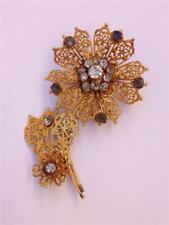 Vintage 12K Gold Filled with Rhinestones Filigree Flower Brooch or Pin