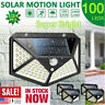 4pcs 100 LED Solar Power PIR Motion Sensor Wall Light Outdoor Garden Lamp Decor