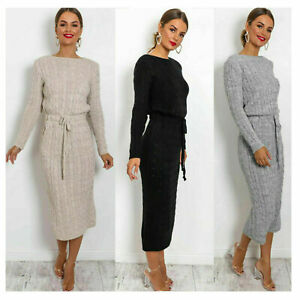 Women's Cable Knitted Jumper Ladies Long Sleeve Tie up Maxi Midi Dress HUGE SALE