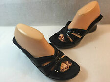 White Mountain Slides Sandals Wedge Black Patent  Womens Size 10 M
