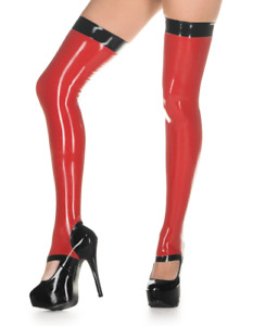 Latex Gummi Rubber Chic Stirrup Stockings Thick Trims Sexy Red Customized 0.4mm