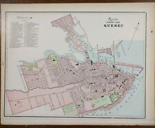"Vintage 1901 QUEBEC CITY CANADA Map 14""x11"" ~ Old Antique Original CAPITALES"