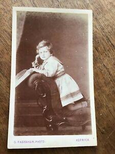 CDV LITTLE BLOND BOY Wearing a Dress c 1870 at KESWICK CDV format PHOTO 24/9