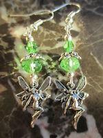 Silver Fairie Fairy & Green Crystal Artisan Earrings-Healing Goddess Wicca Pagan