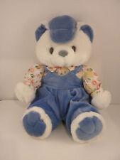 "NICE Baby Baseball Teddy Bear Plush Stuffed Animal Blue Boy 10"" Hat Cap Pandder"