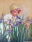 Framed canvas art print Giclee Little Girl with Irises, Good Housekeeping cover