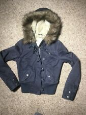 Abercrombie Vintage Kids Girls Faux Fur Hood Coat Bomber Jacket Size XL