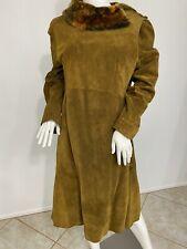 Alberta Ferretti NutmegBrown Suede Leather Coat W Shearling - Large,Size 10 - 14
