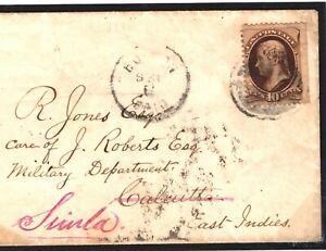 USA INDIA MILITARY MAIL 1880 USA Cover via Liverpool SEA PO Simla FORWARD S32b