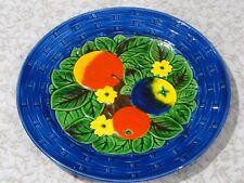 Retro Decorative Ceramic Plate, Fruit in a Basket, Maiolica Pottery