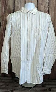 Banana Republic Men's L, L/S Shirt, Blue, Black, White And Tan Stripes. XL-1