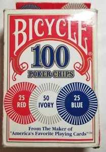 BICYCLE 100 POKER CHIPS - Interlocking - Washable