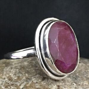 925 Sterling Fine Silver Ruby Gemstone Ring Sz C-Z Women Fest Gift RSP-1231