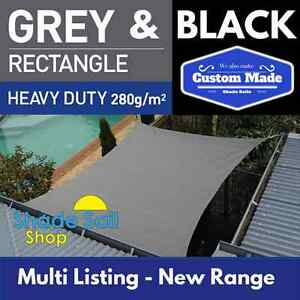 Rectangle Shade Sails 280gsm Black + Grey Multi Sizes Super Strong 95% Cloth