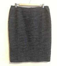 Lafayette 148 blue pencil skirt size 12 fitted seams knee length business C