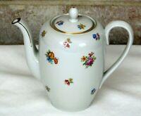 Johann Haviland Bavaria W48 Coffee Tea Pot Flower Sprigs Floral White Gold Trim