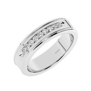 6mm, Round Brilliant Diamond Men's Wedding Ring in 950 Platinum