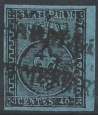 ITALIA-STATI Parma: 1852 40c Blu Belle utilizzato due - 2033