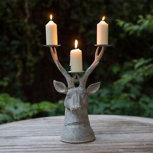 Garden Stag Head Large Tea Light Lantern Holder Candle Antique Vintage Metal