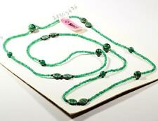 Vintage long Czech necklace green marbled givre chrysoprase glass beads