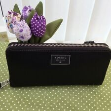 FOSSIL DAWSON BLACK  LEATHER  DOUBLE ZIP CLUTCH PURSE & GIFT BOX   BNWT