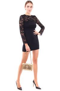 RRP €1765 BLUMARINE Wool Mini Jumper Dress Size 40 / XS Lace Top Made in Italy