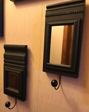 Set of 2 Wooden Black Mirror Wall Hanging with Wood Ball Hooks