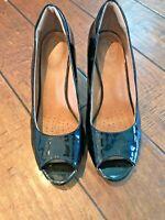 "CLARKS Women's ""Artisan"" Black Patent Leather Peep Toe Pumps Heels Size 8 M"