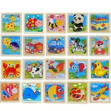 Baby Toddler Intelligence Development Animal Wooden Brick 10.5*10.5cm IvLdE
