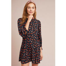 Anthropologie Black Pink Red Tie Sleeve Floral Print Marnita Dress NWT Sz Large
