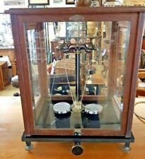 1920's German Sartorius-Werke Analytical Balance/Scales in Glass Cabinet