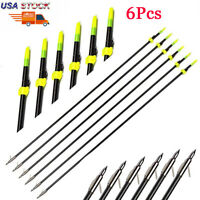"6X 32"" Black Archery Bow Fishing Hunting Arrow with Broadheads and Safety Slides"